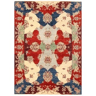Herat Oriental Afghan Hand-knotted Vegetable Dye Suzani Wool Rug (5'7 x 7'8)