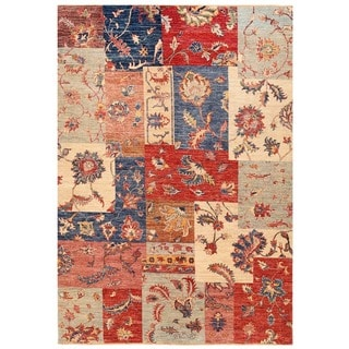 Herat Oriental Afghan Hand-knotted Vegetable Dye Patch Design Wool Rug (5'5 x 7'9)