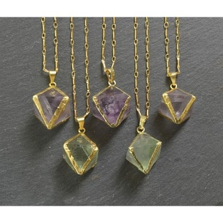 "Mint Jules Natural Raw Fluorite Stone Necklace with 24k Gold Overlay Pendant Necklace 22"" - 26"" Adjustable"