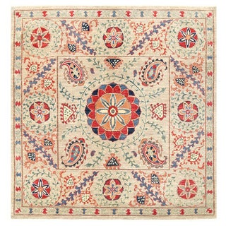 Herat Oriental Afghan Hand-knotted Vegetable Dye Suzani Wool Rug (6'8 x 6'10)