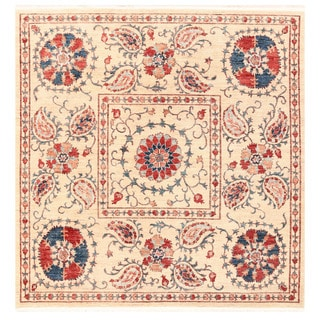 Herat Oriental Afghan Hand-knotted Vegetable Dye Suzani Wool Rug (6'5 x 6'9)