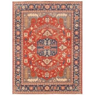 Herat Oriental Afghan Hand-knotted Vegetable Dye Oushak Wool Rug (8'11 x 11'10)