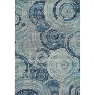 Eden Oblique Blue/Navy Polypropylene Outdoor Area Rug (5' x 8')