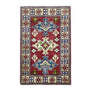 FineRugCollection Hand Knotted Pakistan Kazak Red Wool Oriental Rug (2'1 x 3'2)