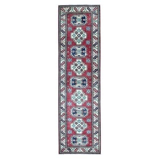 Fine Rug Collection Hand-knotted Pakistan Kazak Red Wool Oriental Runner (2'9 x 9'9)