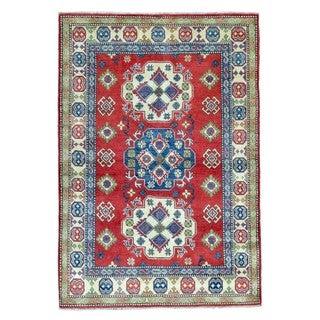 Fine Rug Collection Hand Knotted Pakistan Kazak Red Wool Oriental Rug (4' x 5'9)