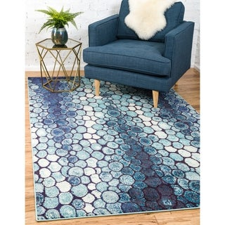 Barcelona Pebble Beach Ivory/Blue/Black/Navy Polypropylene and Cotton Area Rug (5' x 8')