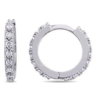 Miadora 18k White Gold Round-Shaped Cubic Zirconia Huggie Hoop Earrings