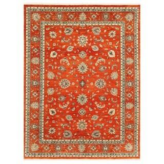 Herat Oriental Afghan Hand-knotted Vegetable Dye Oushak Wool Rug (9'2 x 12')