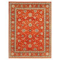 Handmade Herat Oriental Afghan Vegetable Dye Oushak Wool Rug (Afghanistan) - 9'2 x 12'