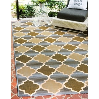 Eden Blue/Gold Polypropylene Trellis Outdoor Area Rug (5' x 8')