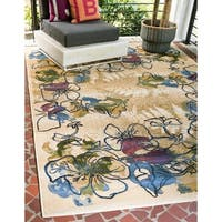 Unique Loom Pansy Eden Outdoor Area Rug - 5' 3 x 8'