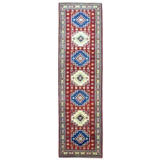 Fine Rug Collection Hand-knotted Pakistan Kazak Red Wool Oriental Runner (2'8 x 9'7)
