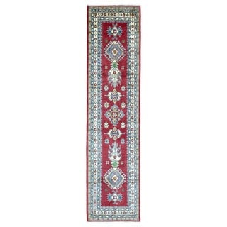 Fine Rug Collection Hand-knotted Pakistan Kazak Red Wool Oriental Runner (2'6 x 10'4)