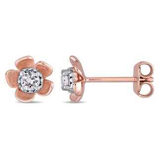 Laura Ashley White Sapphire Flower Stud Earrings in Two-Tone White and Rose Plated Sterling Silver