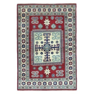 FineRugCollection Hand Knotted Pakistan Kazak Red Wool Oriental Rug (3'10 x 5'7)