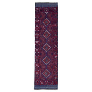 FineRugCollection Hand Knotted Afghan Baluch Red Wool Oriental Rug (2'2 x 8'2)