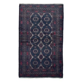 Fine Rug Collection Hand-knotted Persian Baluch Black Wool Oriental Rug (3'11 x 6'6)