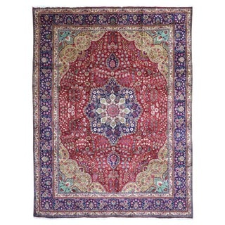 FineRugCollection Hand Knotted Semi-Antique Persian Sarouk Red Wool Oriental Rug (9'9 x 13'4)