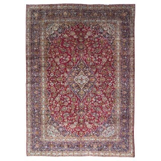 FineRugCollection Hand Knotted Semi-Antique Persian Kashan Red Wool Oriental Rug (9'7 x 13'4)