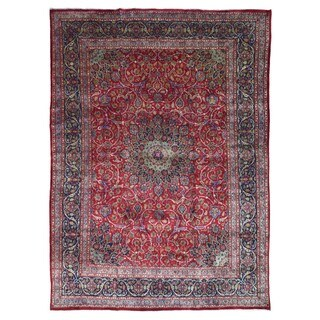 FineRugCollection Hand Knotted Semi-Antique Persian Kashan Red Wool Oriental Rug (9'5 x 12'11)