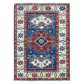 Fine Rug Collection Hand Knotted Pakistan Kazak Blue Wool Oriental Rug (4' x 5'4)