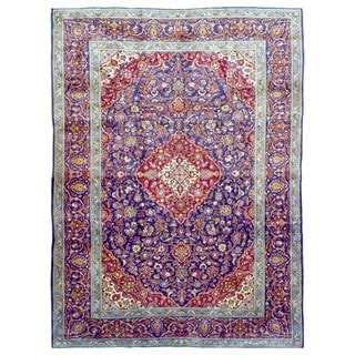 FineRugCollection Hand Knotted Semi-Antique Unique Persian Kashan Blue Wool Oriental Rug (9'10 x 13')