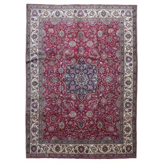 FineRugCollection Hand Knotted Semi-Antique Persian Kashan Red Wool Oriental Rug (9'6 x 13'2)