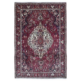 FineRugCollection Hand Knotted Semi-Antique Persian Kashan Red Wool Oriental Rug (7' x 10'5)