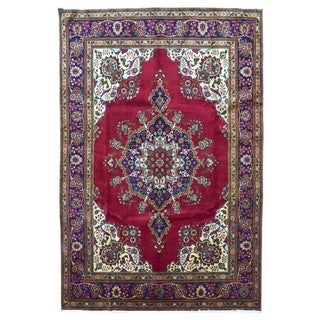 FineRugCollection Hand Knotted Semi-Antique Persian Kashan Red Wool Oriental Rug (3'9 x 6'4)