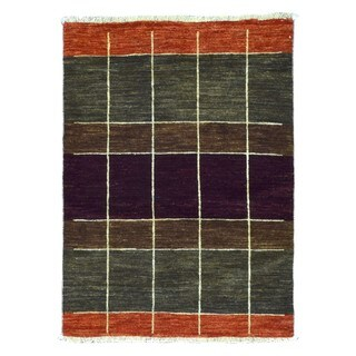 FineRugCollection Hand Knotted Gabbeh Multi-Colored Wool Oriental Rug (3'4 x 4'6)