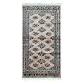 Fine Rug Collection Hand-knotted Bukhara Tan Wool Oriental Rug (2'6 x 4'8)
