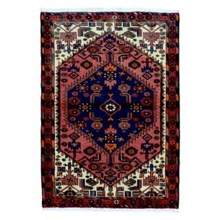 FineRugCollection Hand Knotted Semi-Antique Persian Hamadan Red Wool Oriental Rug (3'5 x 4'10)