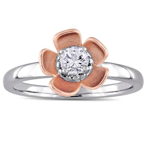 Laura Ashley White Sapphire Flower Ring in Two-Tone White and Rose Plated Sterling Silver