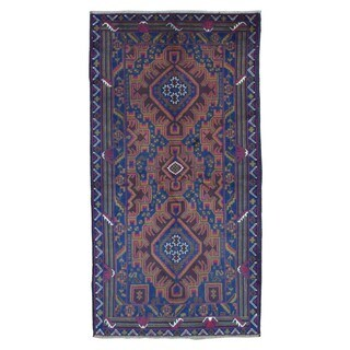 FineRugCollection Hand Knotted Semi-Antique Persian Baluch Navy Wool Oriental Rug (3'6 x 6'8)
