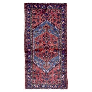 Fine Rug Collection Hand-knotted Semi-antique Persian Hamadan Red Wool Oriental Rug (3'7 x 7')