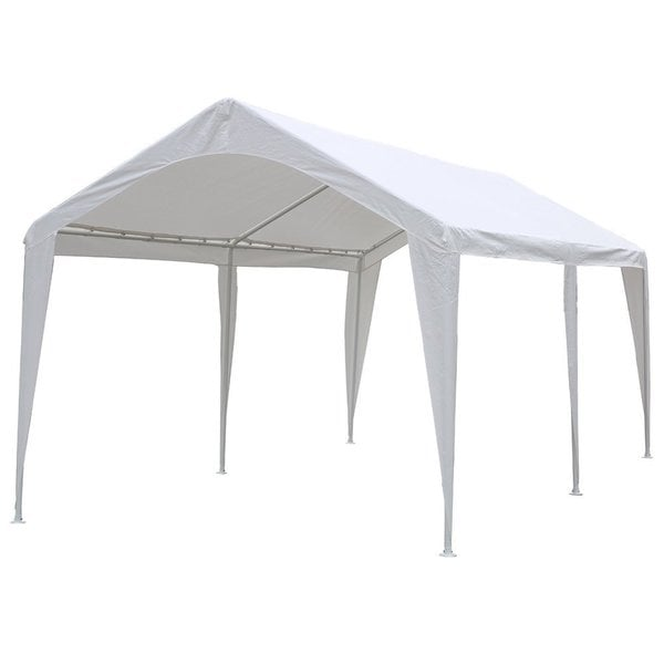 abba patio 10 x 20feet outdoor carport canopy with 6 steel legs white free shipping today - Carport Canopy
