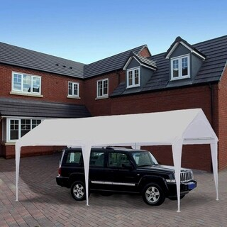 Abba Patio 10 x 20 feet Domain Outdoor Carport Canopy with 6 Steel Legs, White