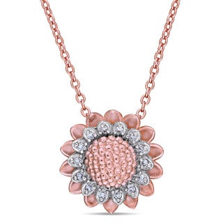 Laura Ashley 1/10ct TDW Diamond Sunflower Station Necklace in Two-Tone White and Rose Plated Sterling Silver (G-H, I1-I2)