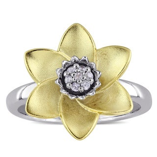 Laura Ashley White Sapphire Flower Ring in Two-Tone White and Yellow Plated Sterling Silver