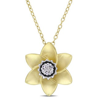Laura Ashley White Sapphire Flower Necklace in Two-Tone White and Yellow Plated Sterling Silver