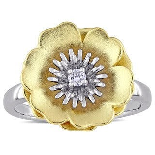 Laura Ashley Diamond Accent Flower Ring in Two-Tone White and Yellow Plated Sterling Silver
