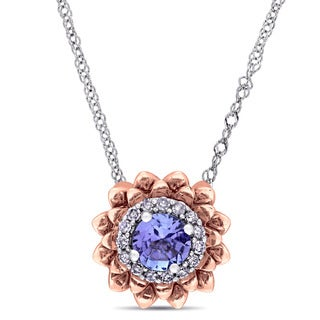 Laura Ashley Tanzanite and Diamond Halo Flower Station Necklace in 2-Tone 10k White and Rose Gold (G-H,I2-I3)