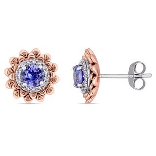 Laura Ashley Tanzanite and 1/6ct TDW Diamond Halo Flower Stud Earrings in 2-Tone 10k White and Rose Gold (G-H,I2-I3)