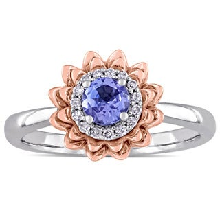 Laura Ashley Tanzanite and 1/10ct TDW Diamond Halo Flower Ring in 2-Tone 10k White and Rose Gold (G-H,I2-I3)