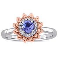 Laura Ashley Tanzanite and 1/10ct TDW Diamond Halo Flower Ring in 2-Tone 10k White and Rose Gold (G-