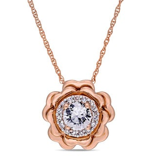 Laura Ashley White Sapphire and Diamond Halo Flower Station Necklace in 10k Rose Gold (G-H,I2-I3)