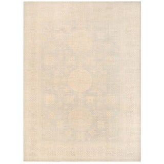 Herat Oriental Afghan Hand-knotted Vegetable Dye White Wash Oushak Wool Rug (10'3 x 14')