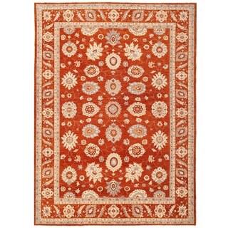 Herat Oriental Afghan Hand-knotted Vegetable Dye Oushak Wool Rug (10' x 13'11)