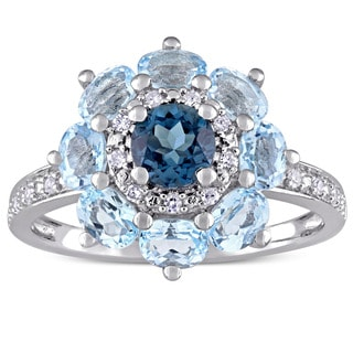 Laura Ashley London and Sky Blue Topaz with 1/10ct TDW Diamond Flower Ring in Sterling Silver (G-H, I1-I2)